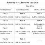 HSTU A, B, C, D, E, F & G Unit Admission Result 2015-16