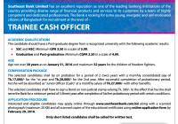 Southeast Bank Trainee Cash Officer Job Circular 2016