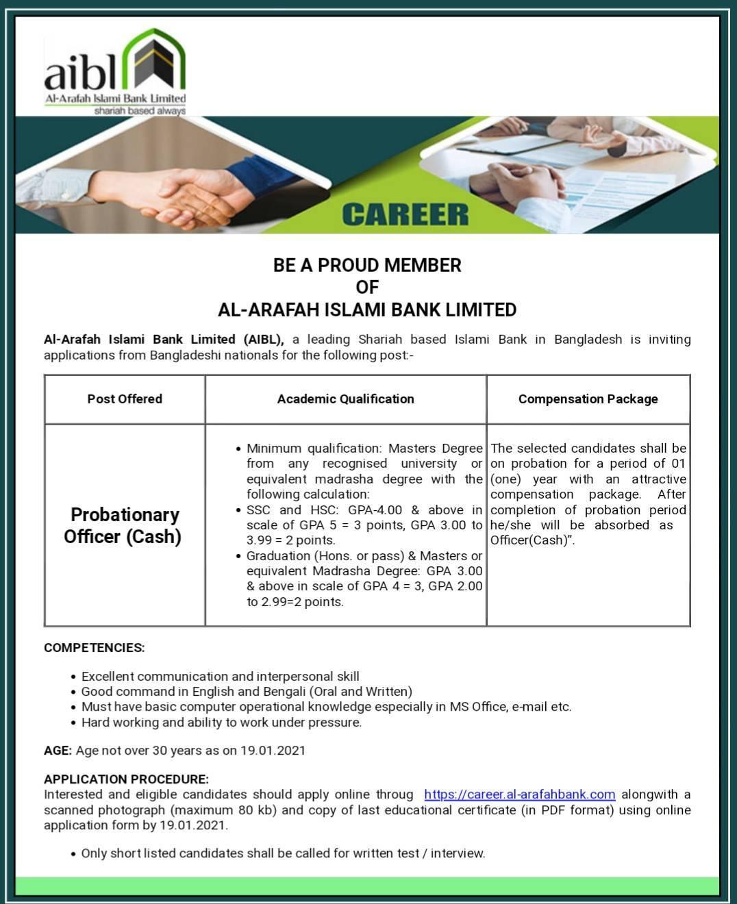 Al Arafah Islami Bank Job Circular 2021