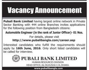 Pubali Bank Junior Officer (AE) Job Circular 2016