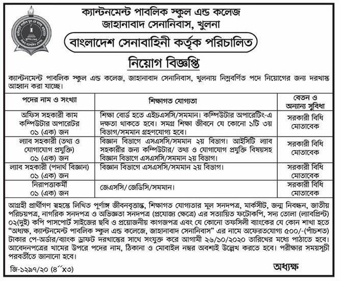 Zahanabad Cantonment College Job Circular 2020