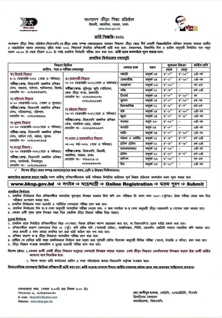 BKSP Admission Circular 2021